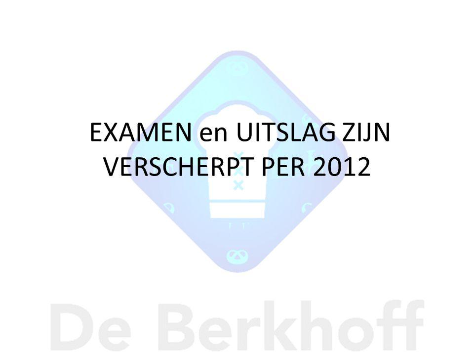 EXAMEN en UITSLAG ZIJN VERSCHERPT PER 2012