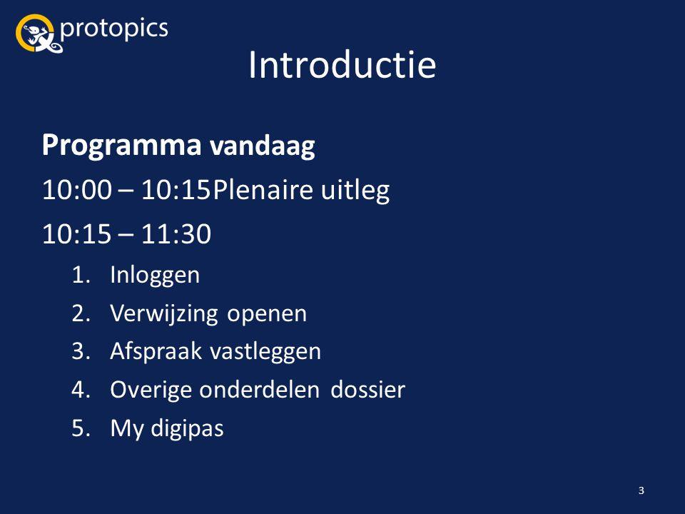 Introductie Programma vandaag 10:00 – 10:15Plenaire uitleg 10:15 – 11:30 1.Inloggen 2.Verwijzing openen 3.Afspraak vastleggen 4.Overige onderdelen dos