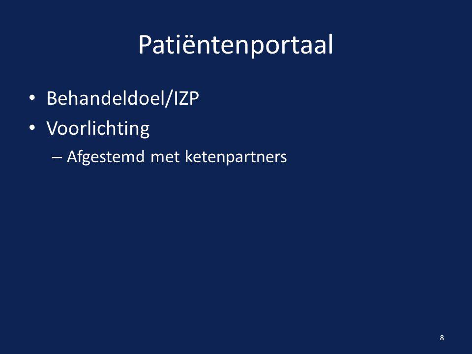 Patiëntenportaal Behandeldoel/IZP Voorlichting – Afgestemd met ketenpartners 8