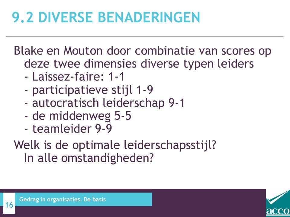 Blake en Mouton door combinatie van scores op deze twee dimensies diverse typen leiders - Laissez-faire: 1-1 - participatieve stijl 1-9 - autocratisch leiderschap 9-1 - de middenweg 5-5 - teamleider 9-9 Welk is de optimale leiderschapsstijl.