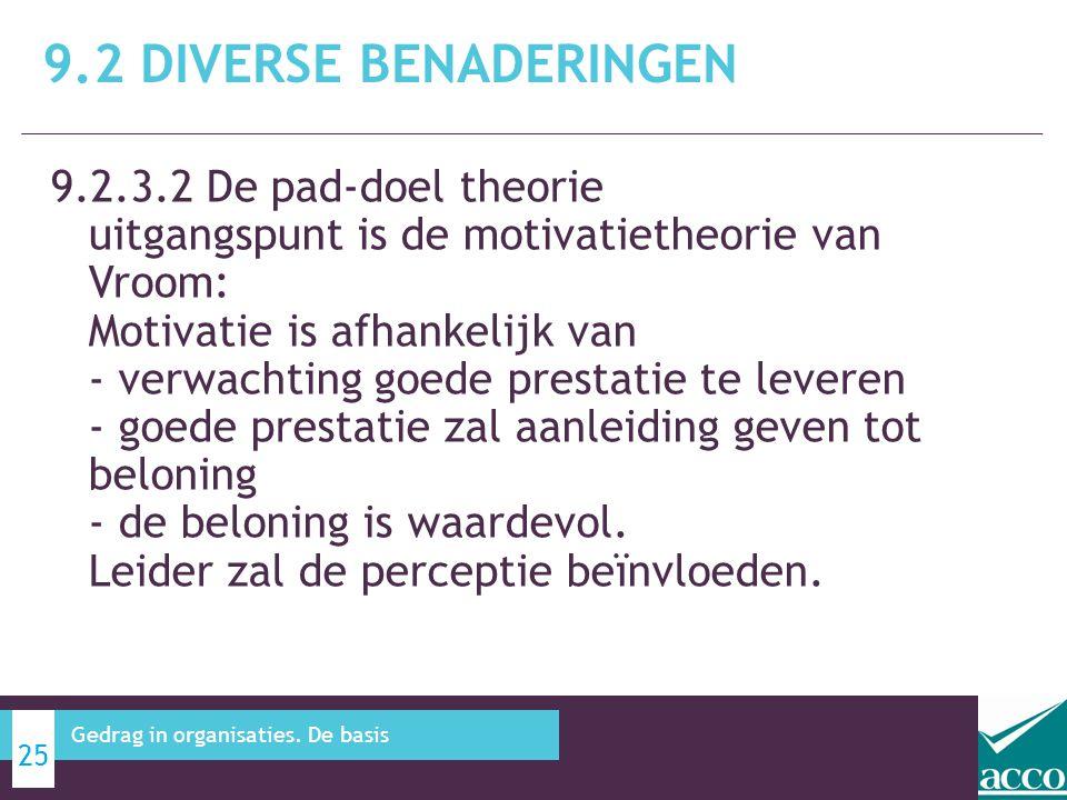 9.2.3.2 De pad-doel theorie uitgangspunt is de motivatietheorie van Vroom: Motivatie is afhankelijk van - verwachting goede prestatie te leveren - goe