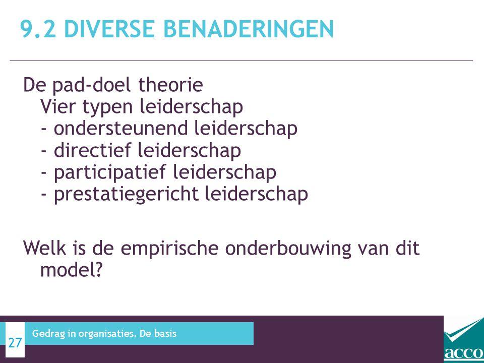 De pad-doel theorie Vier typen leiderschap - ondersteunend leiderschap - directief leiderschap - participatief leiderschap - prestatiegericht leidersc