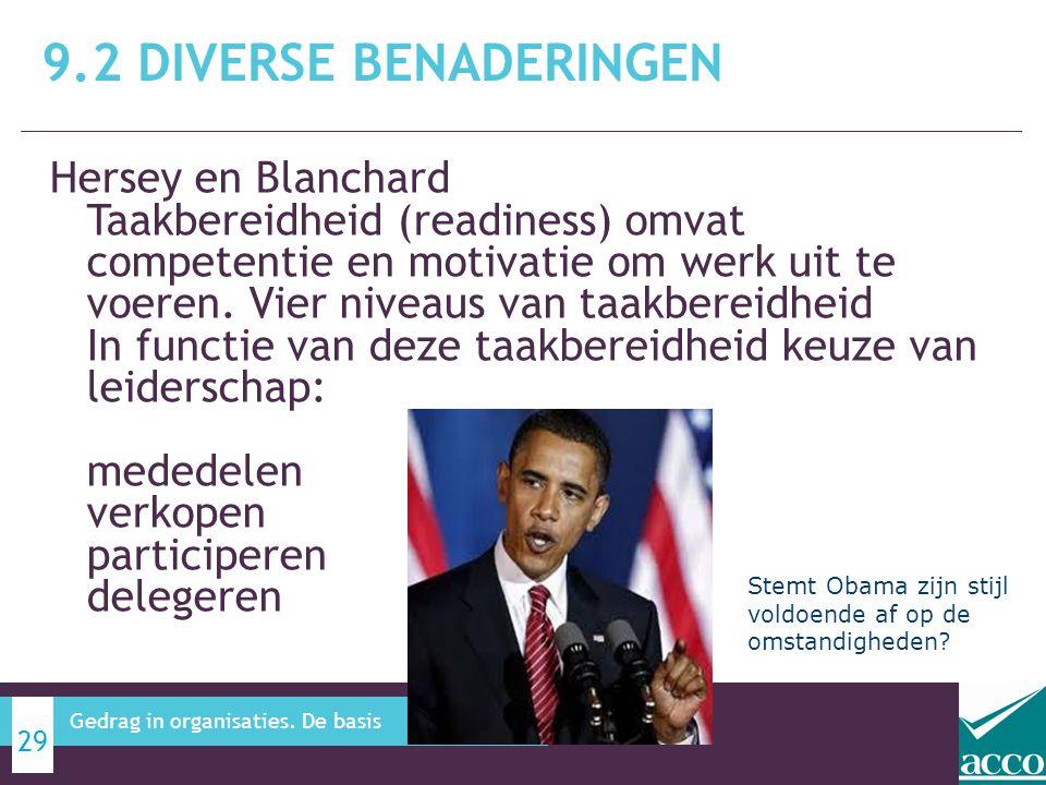 Hersey en Blanchard Taakbereidheid (readiness) omvat competentie en motivatie om werk uit te voeren. Vier niveaus van taakbereidheid In functie van de