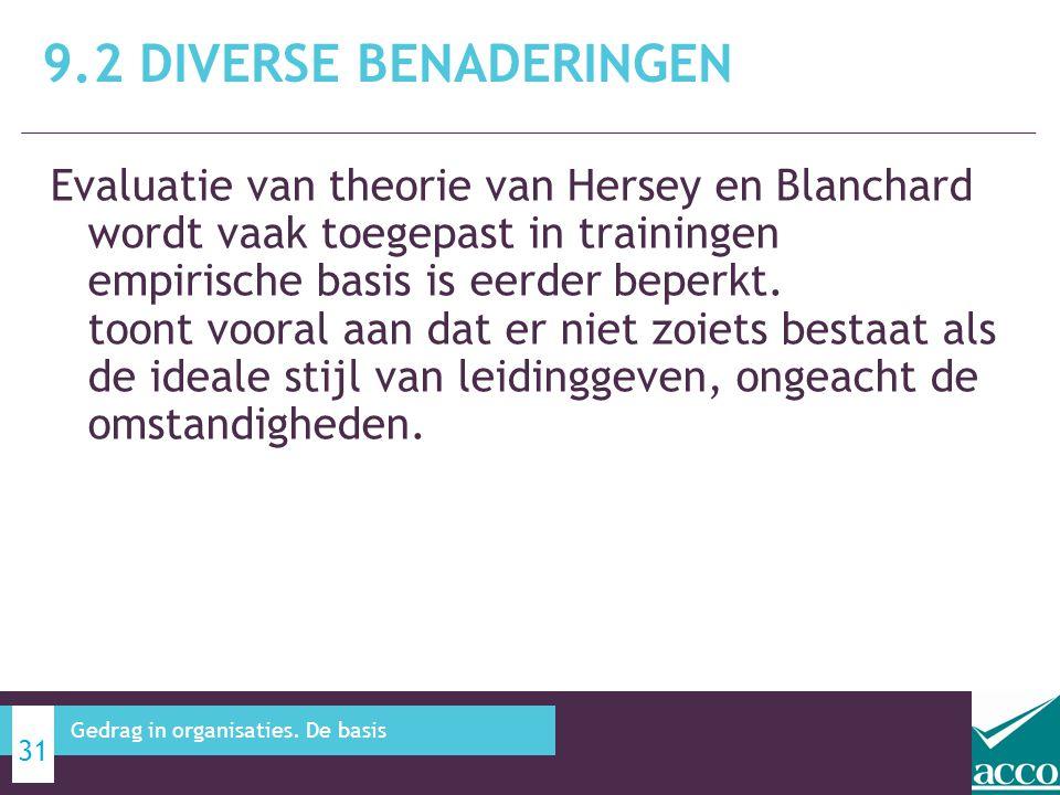 Evaluatie van theorie van Hersey en Blanchard wordt vaak toegepast in trainingen empirische basis is eerder beperkt. toont vooral aan dat er niet zoie