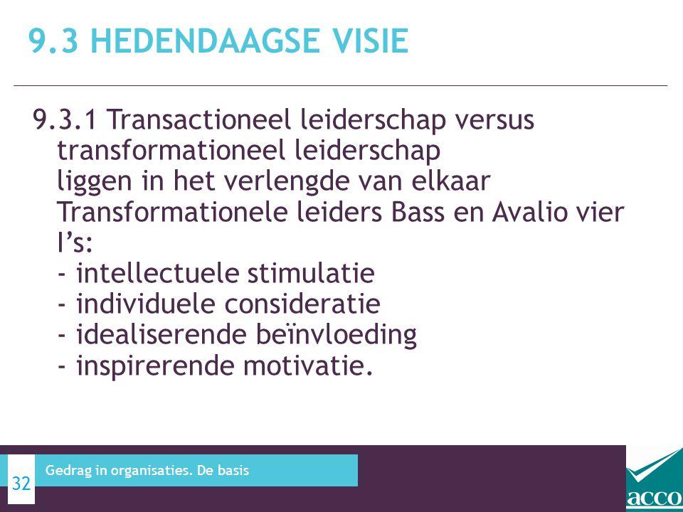 9.3.1 Transactioneel leiderschap versus transformationeel leiderschap liggen in het verlengde van elkaar Transformationele leiders Bass en Avalio vier I's: - intellectuele stimulatie - individuele consideratie - idealiserende beïnvloeding - inspirerende motivatie.