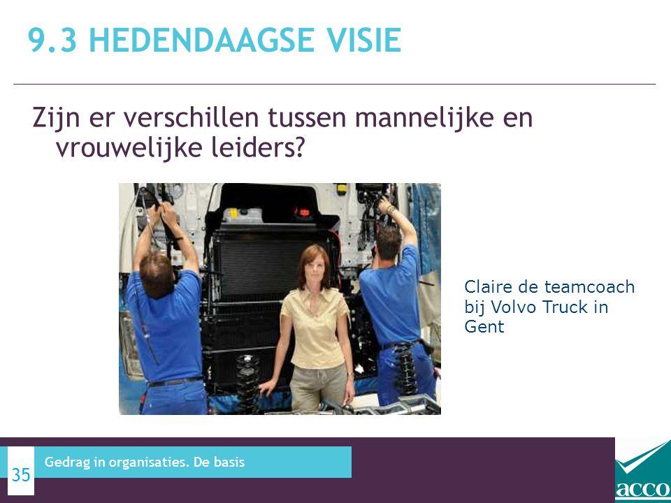Zijn er verschillen tussen mannelijke en vrouwelijke leiders? 9.3 HEDENDAAGSE VISIE 35 Gedrag in organisaties. De basis Claire de teamcoach bij Volvo