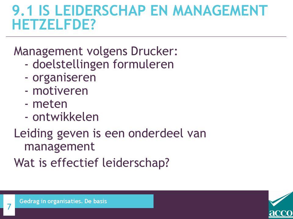Management volgens Drucker: - doelstellingen formuleren - organiseren - motiveren - meten - ontwikkelen Leiding geven is een onderdeel van management