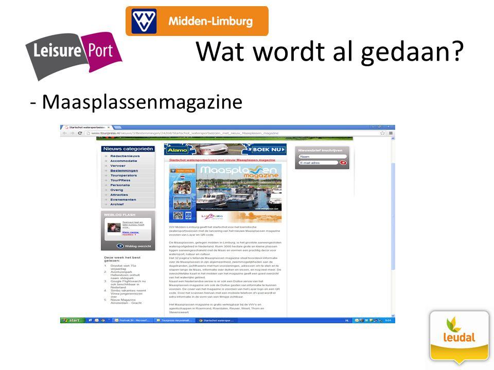- Maasplassenmagazine Wat wordt al gedaan?