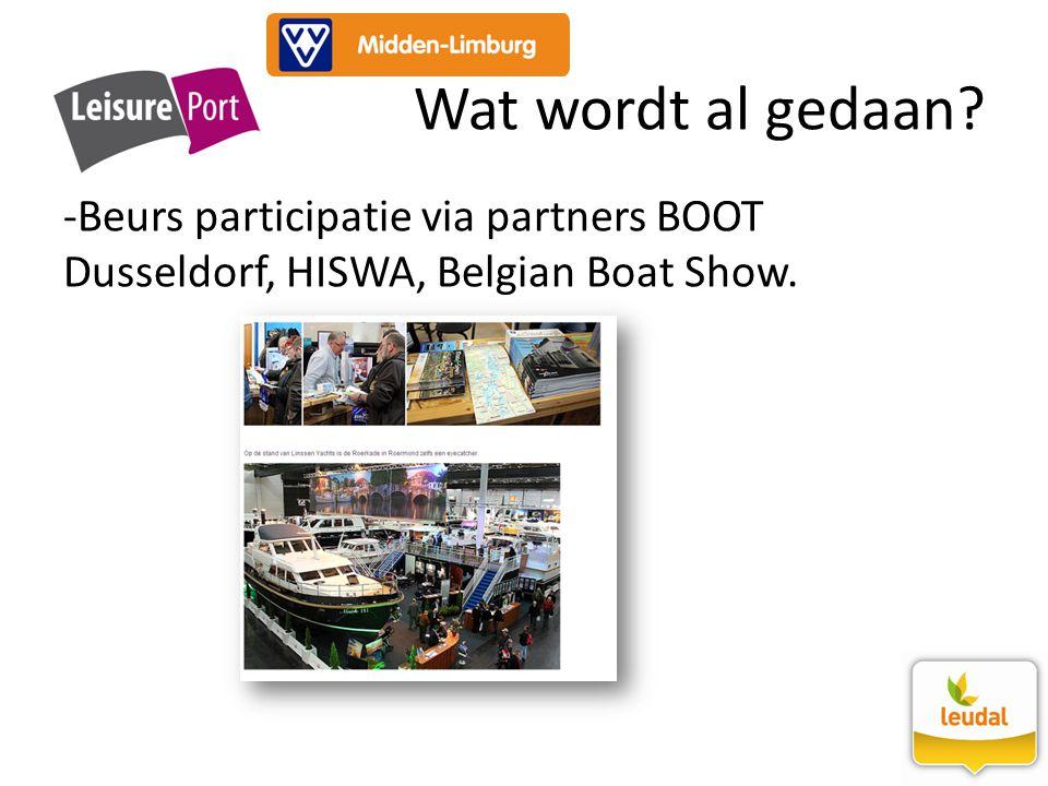 -Beurs participatie via partners BOOT Dusseldorf, HISWA, Belgian Boat Show. Wat wordt al gedaan?