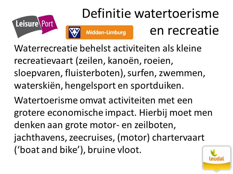 Definitie watertoerisme en recreatie Waterrecreatie behelst activiteiten als kleine recreatievaart (zeilen, kanoën, roeien, sloepvaren, fluisterboten)