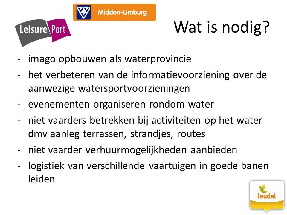 -imago opbouwen als waterprovincie -het verbeteren van de informatievoorziening over de aanwezige watersportvoorzieningen -evenementen organiseren ron