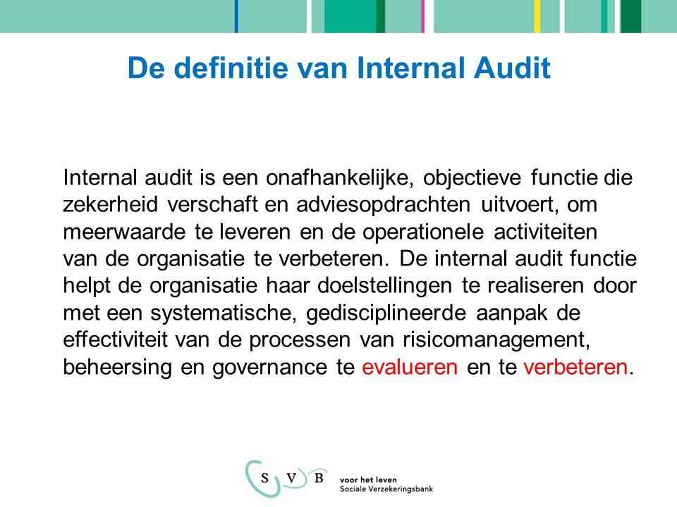 De definitie van Internal Audit Internal audit is een onafhankelijke, objectieve functie die zekerheid verschaft en adviesopdrachten uitvoert, om meer