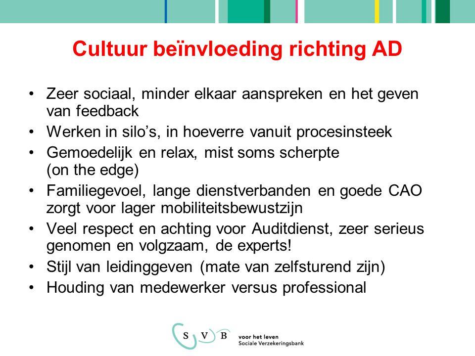 Cultuur beïnvloeding richting AD Zeer sociaal, minder elkaar aanspreken en het geven van feedback Werken in silo's, in hoeverre vanuit procesinsteek G