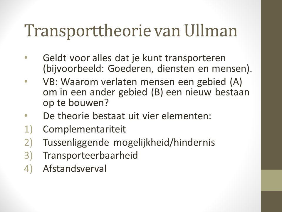 Transporttheorie van Ullman Geldt voor alles dat je kunt transporteren (bijvoorbeeld: Goederen, diensten en mensen).