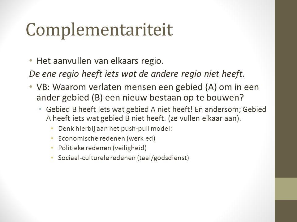 Complementariteit Het aanvullen van elkaars regio.
