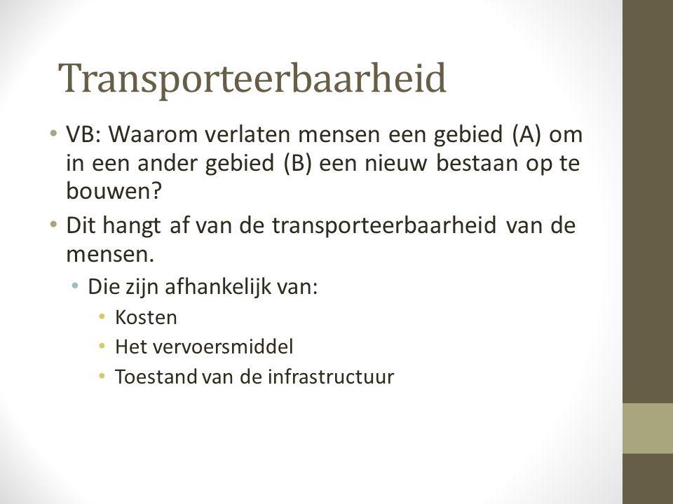 Transporteerbaarheid VB: Waarom verlaten mensen een gebied (A) om in een ander gebied (B) een nieuw bestaan op te bouwen.