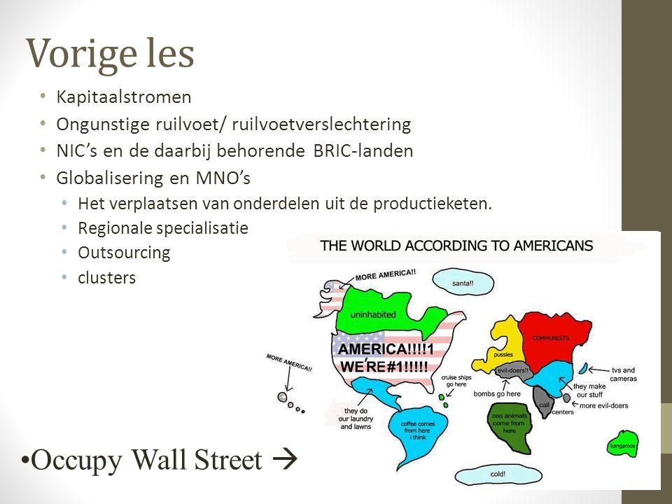 Vorige les Kapitaalstromen Ongunstige ruilvoet/ ruilvoetverslechtering NIC's en de daarbij behorende BRIC-landen Globalisering en MNO's Het verplaatsen van onderdelen uit de productieketen.