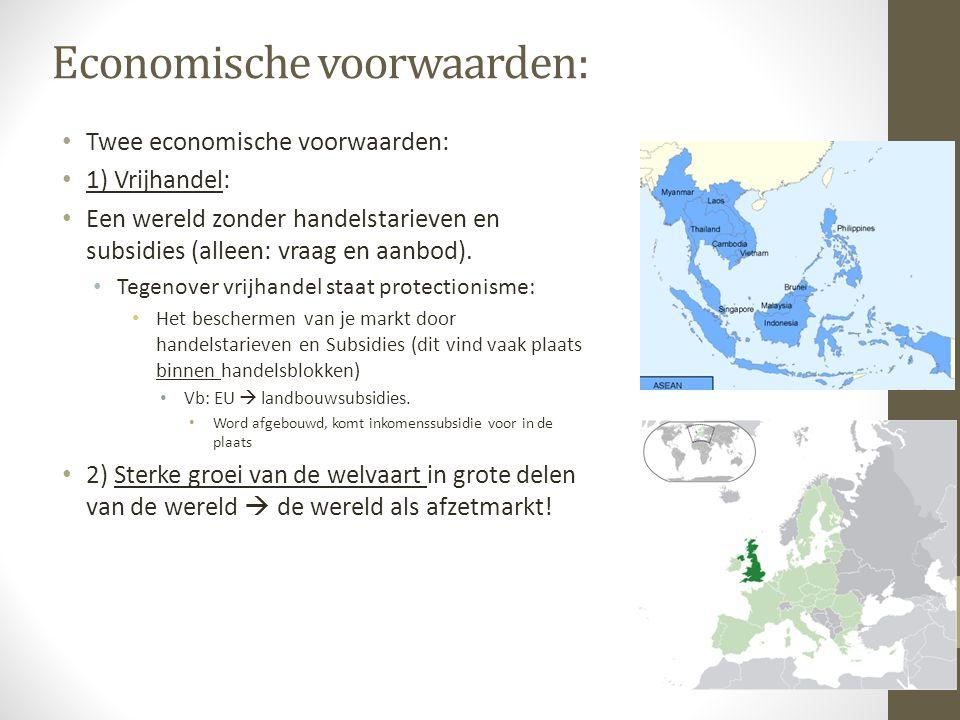 Economische voorwaarden: Twee economische voorwaarden: 1) Vrijhandel: Een wereld zonder handelstarieven en subsidies (alleen: vraag en aanbod).