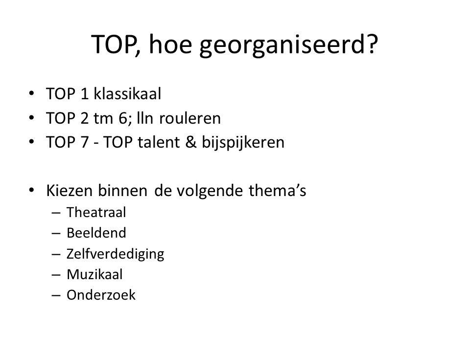 TOP, hoe georganiseerd? TOP 1 klassikaal TOP 2 tm 6; lln rouleren TOP 7 - TOP talent & bijspijkeren Kiezen binnen de volgende thema's – Theatraal – Be
