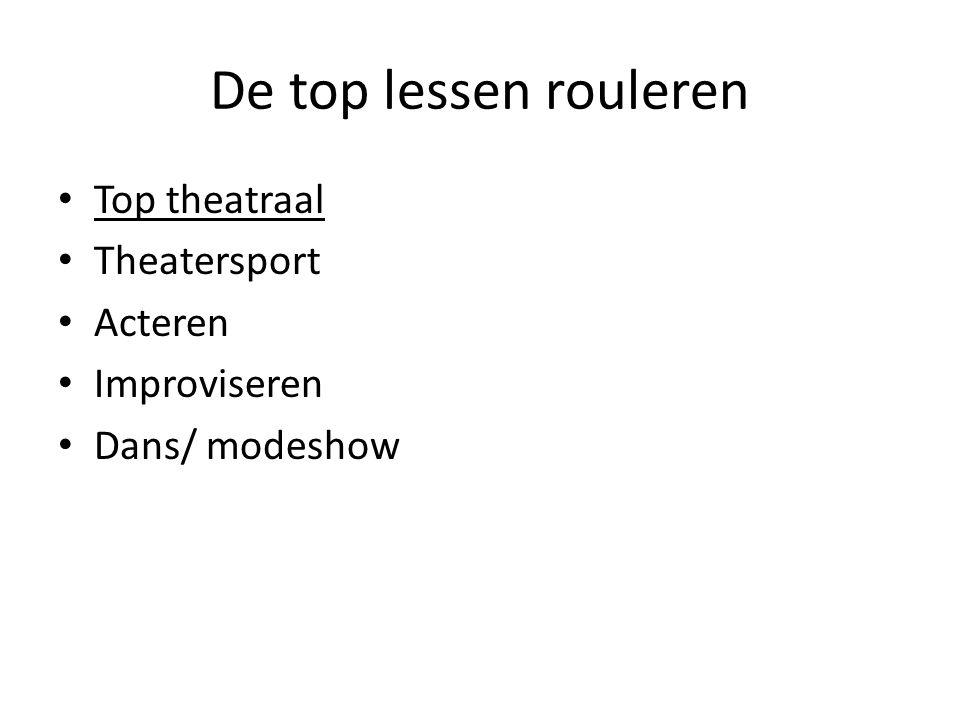 De top lessen rouleren Top theatraal Theatersport Acteren Improviseren Dans/ modeshow