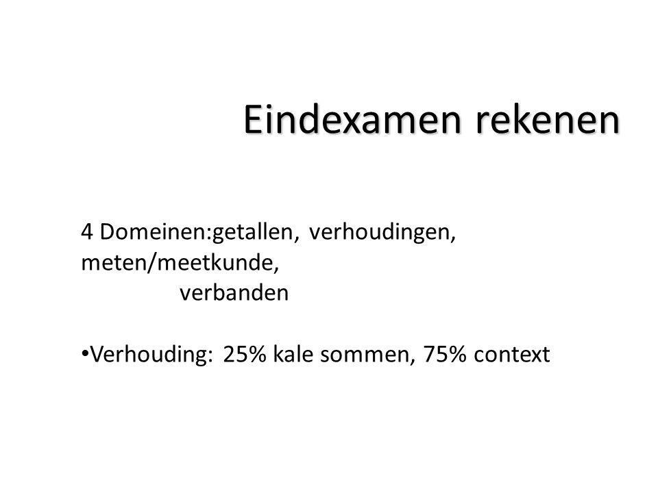 Eindexamen rekenen 4 Domeinen:getallen, verhoudingen, meten/meetkunde, verbanden Verhouding: 25% kale sommen, 75% context