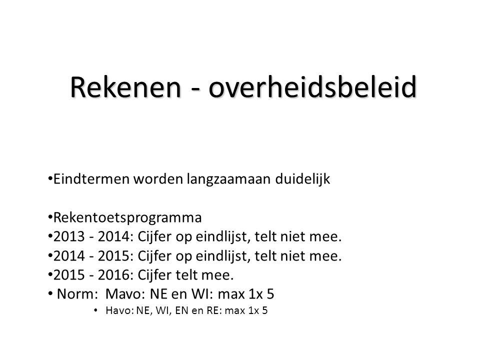 Rekenen - overheidsbeleid Eindtermen worden langzaamaan duidelijk Rekentoetsprogramma 2013 - 2014: Cijfer op eindlijst, telt niet mee. 2014 - 2015: Ci