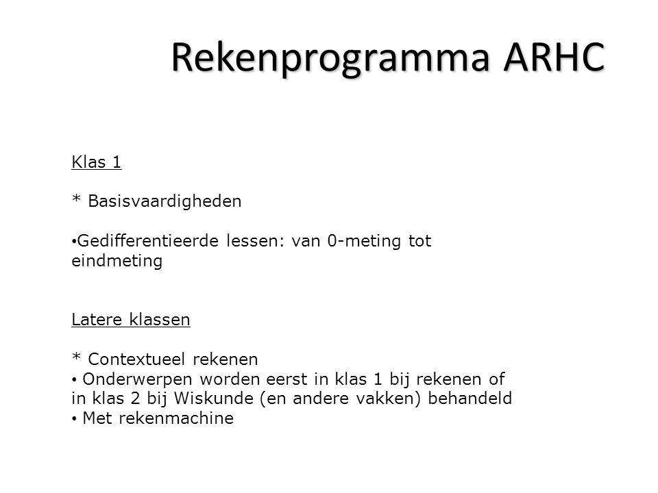 Rekenprogramma ARHC Klas 1 * Basisvaardigheden Gedifferentieerde lessen: van 0-meting tot eindmeting Latere klassen * Contextueel rekenen Onderwerpen