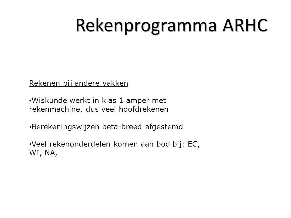Rekenprogramma ARHC Rekenen bij andere vakken Wiskunde werkt in klas 1 amper met rekenmachine, dus veel hoofdrekenen Berekeningswijzen beta-breed afge