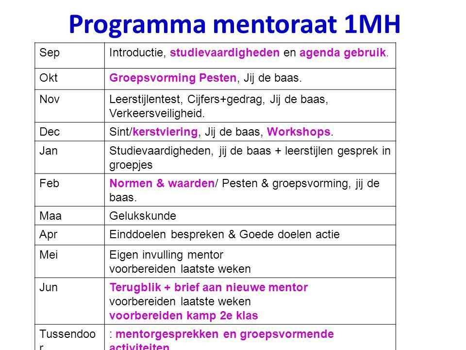 Programma mentoraat 1MH SepIntroductie, studievaardigheden en agenda gebruik. OktGroepsvorming Pesten, Jij de baas. NovLeerstijlentest, Cijfers+gedrag
