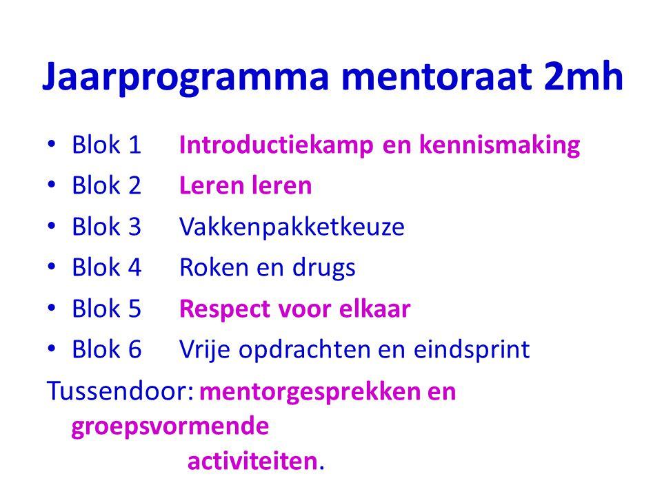 Jaarprogramma mentoraat 2mh Blok 1Introductiekamp en kennismaking Blok 2Leren leren Blok 3Vakkenpakketkeuze Blok 4Roken en drugs Blok 5Respect voor el