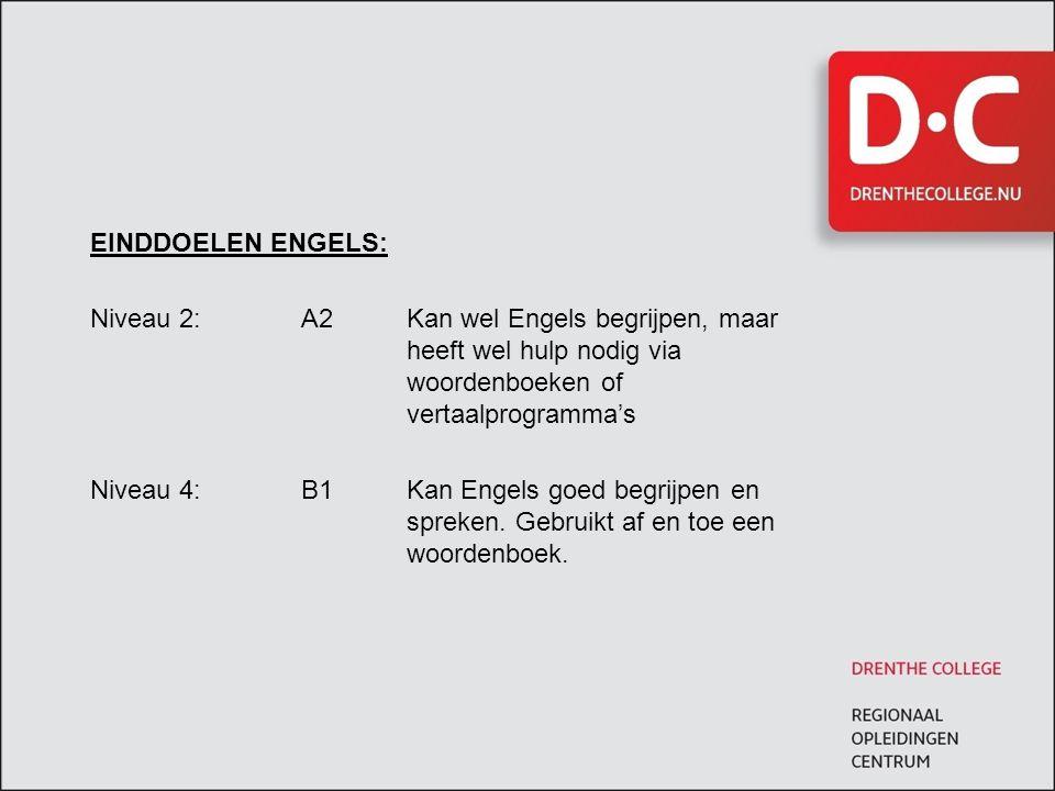 EINDDOELEN ENGELS: Niveau 2:A2Kan wel Engels begrijpen, maar heeft wel hulp nodig via woordenboeken of vertaalprogramma's Niveau 4:B1Kan Engels goed b