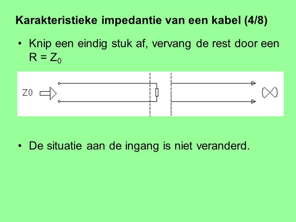 Karakteristieke impedantie van een kabel (3/8) Stel: een oneindig lange kabel zonder verliezen. Stroom en spanning hebben een vaste verhouding Z 0 Z 0