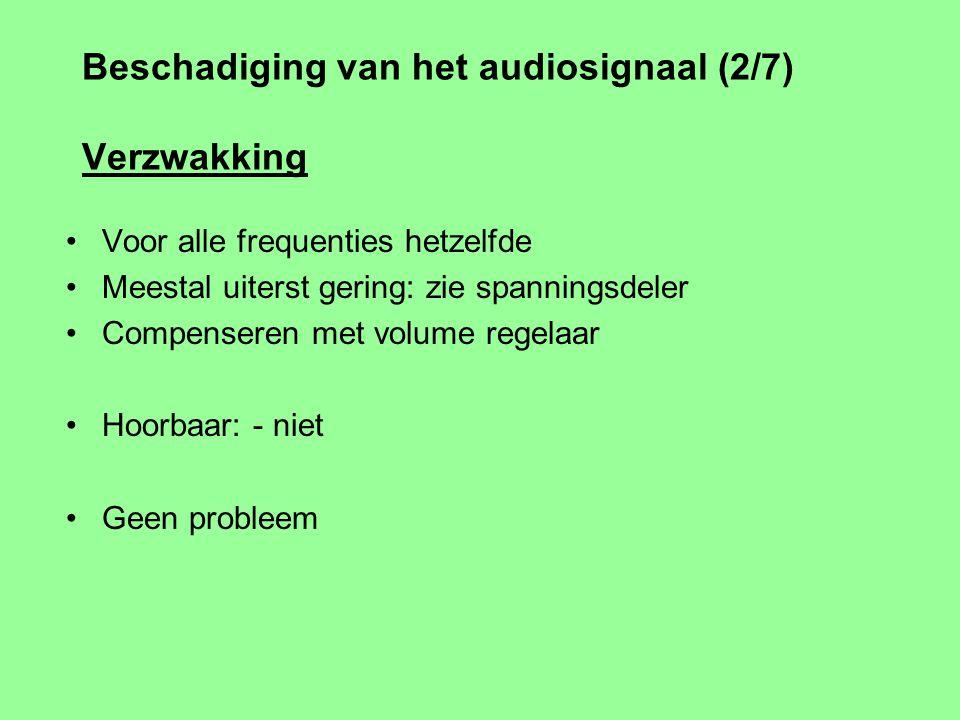 Beschadiging van het audiosignaal (1/7) Elektrisch signaal van 1 apparaat naar een ander Verzwakking (alle frequenties) Frequentie / fase karakteristi