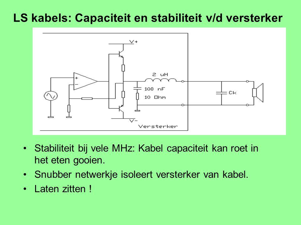 LS kabels: Hoog verlies door zelfinductie Overdracht 8 / (8 2 + 0.9 2 ) = 0.99 of – 0.05 dB Houd rekening met faseverschuiving