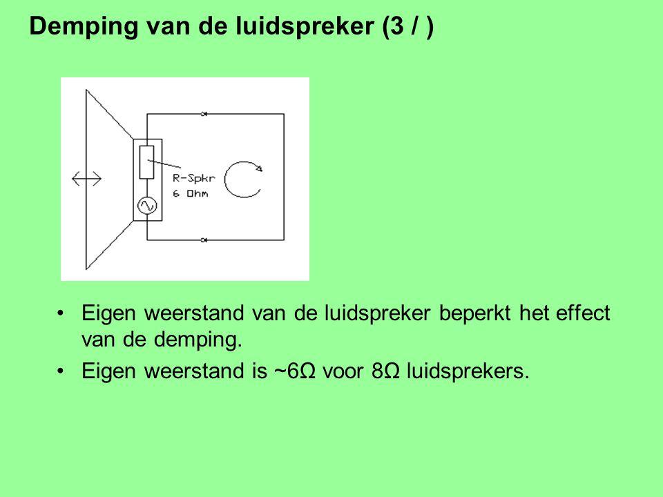 Demping van de luidspreker (2 / Kortsluiten: er gaat een grote stroom lopen en die dempt de beweging. Spanning = beweging (snelheid) Stroom = kracht
