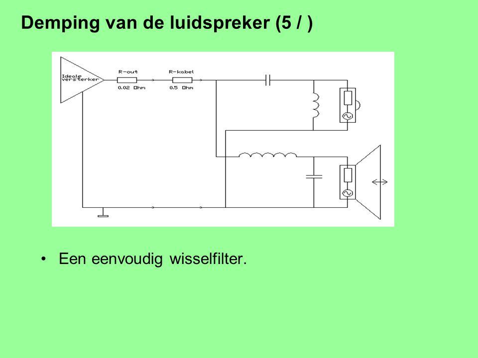 Demping van de luidspreker (4 / ) Kabel weerstand, Z-out van de versterker en Z van filter spelen ook mee. Meestal is Re bepalend, soms Z-filter. Kabe
