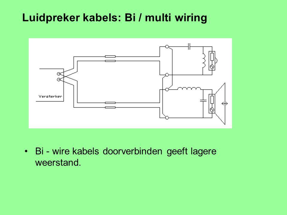 Luidpreker kabels: Bi / multi wiring Bi - wire voorbeeld. Welk probleem lost dit op / voorkomt het ?