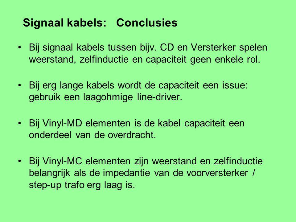 Signaal kabels voor MC vinyl elementen Vaak zeer lage ingangs impedantie van voorversterker / step-up trafo ~ 2 Ohm Weerstand van binnen-ader en mante