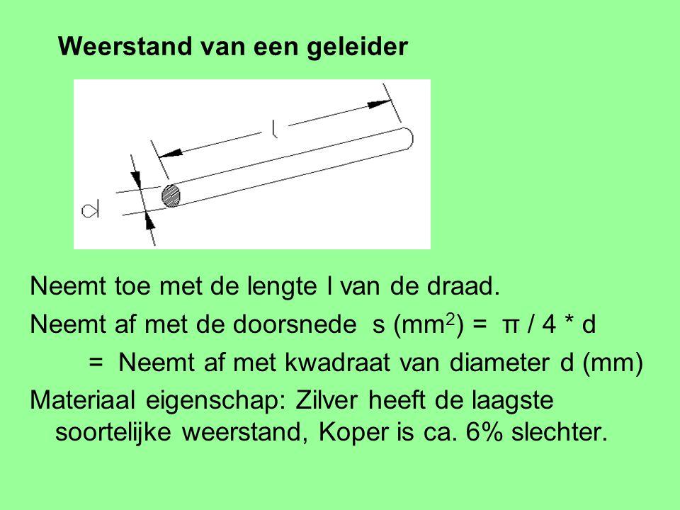 Weerstand van een geleider Neemt toe met de lengte l van de draad.