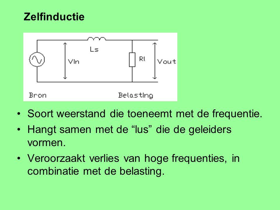 Zelfinductie Soort weerstand die toeneemt met de frequentie.