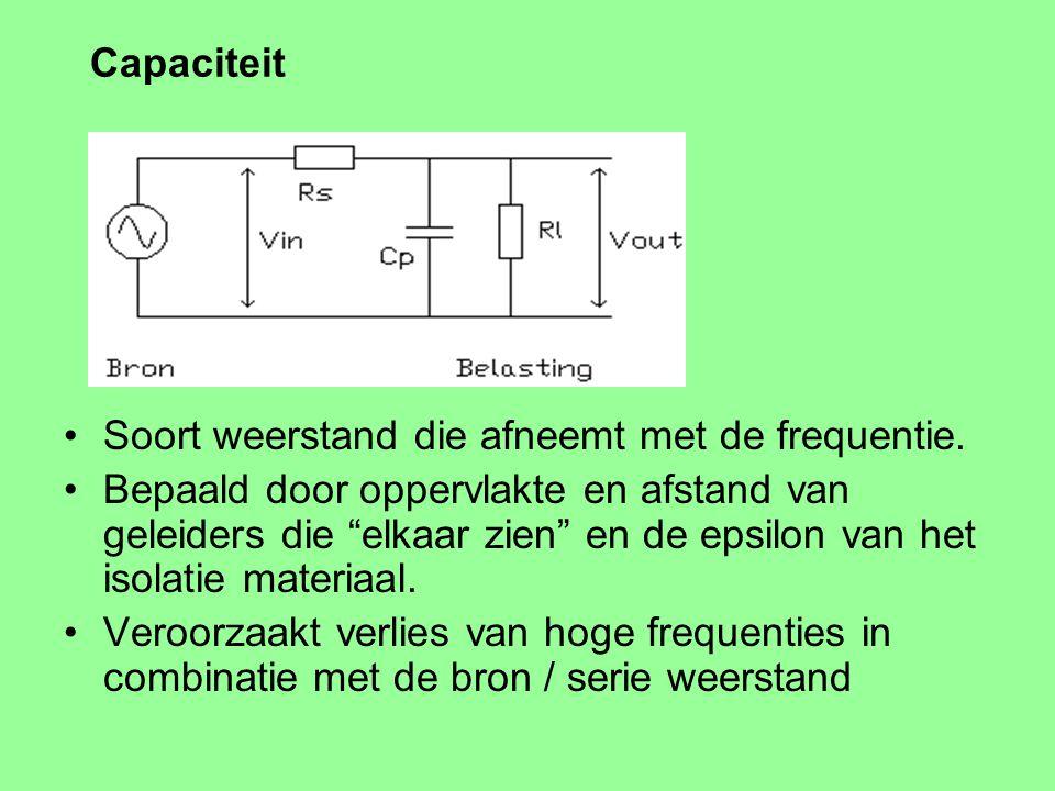 Capaciteit Soort weerstand die afneemt met de frequentie.