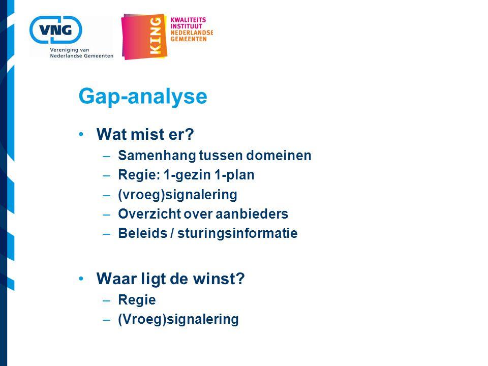 Gap-analyse Wat mist er.