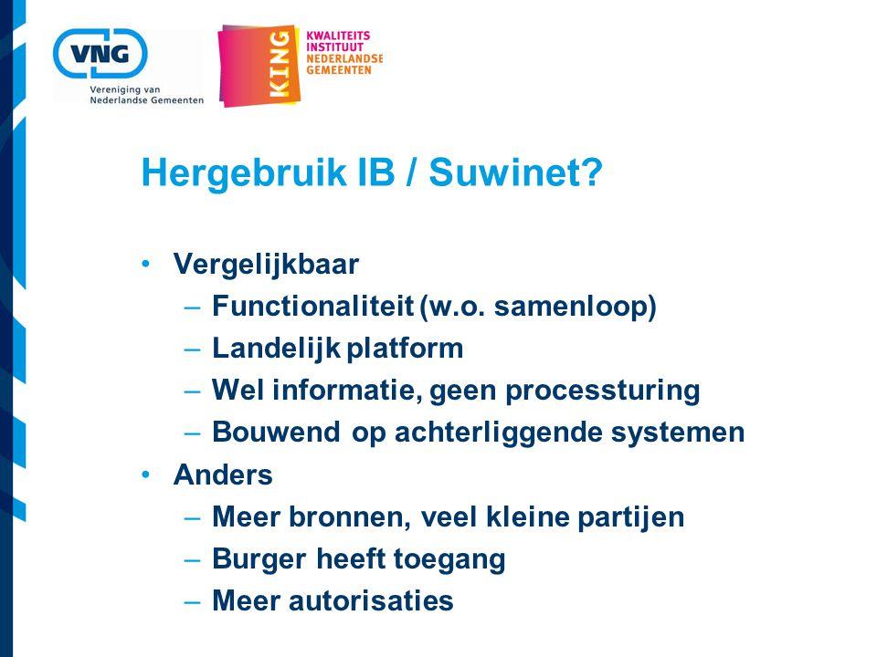 Hergebruik IB / Suwinet.Vergelijkbaar –Functionaliteit (w.o.