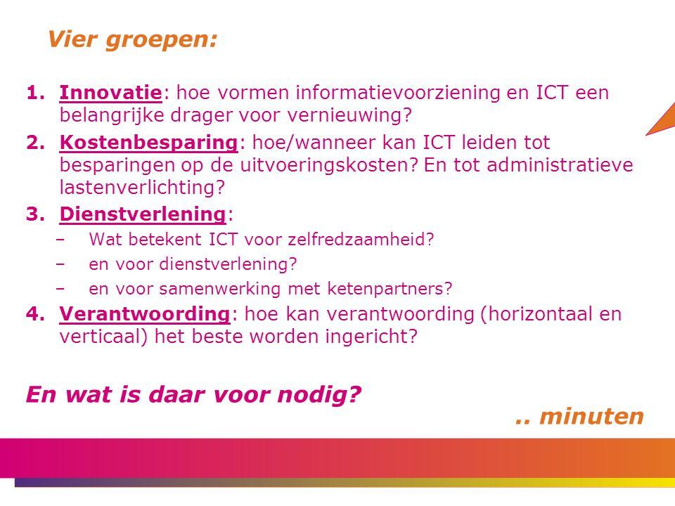 Vier groepen: 1.Innovatie: hoe vormen informatievoorziening en ICT een belangrijke drager voor vernieuwing.