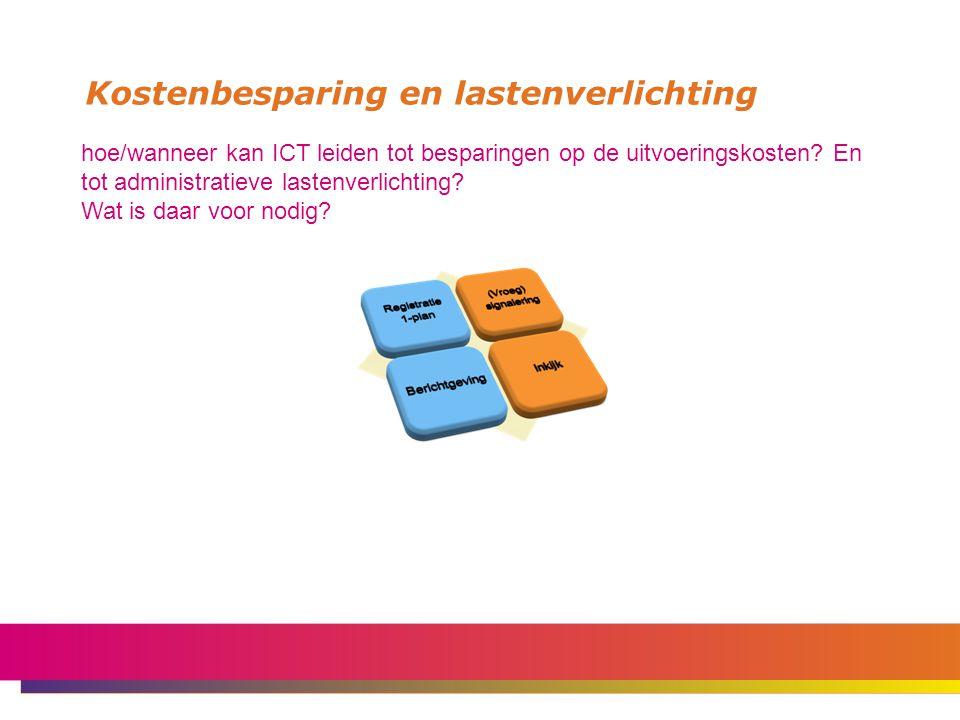 Kostenbesparing en lastenverlichting hoe/wanneer kan ICT leiden tot besparingen op de uitvoeringskosten.