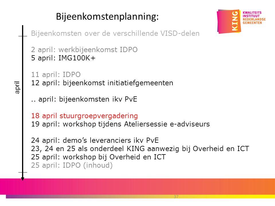 Bijeenkomstenplanning: Bijeenkomsten over de verschillende VISD-delen 2 april: werkbijeenkomst IDPO 5 april: IMG100K+ 11 april: IDPO 12 april: bijeenkomst initiatiefgemeenten..