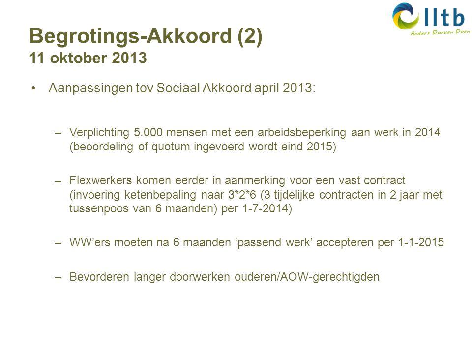 Aanpassingen tov Sociaal Akkoord april 2013: –Verplichting 5.000 mensen met een arbeidsbeperking aan werk in 2014 (beoordeling of quotum ingevoerd wordt eind 2015) –Flexwerkers komen eerder in aanmerking voor een vast contract (invoering ketenbepaling naar 3*2*6 (3 tijdelijke contracten in 2 jaar met tussenpoos van 6 maanden) per 1-7-2014) –WW'ers moeten na 6 maanden 'passend werk' accepteren per 1-1-2015 –Bevorderen langer doorwerken ouderen/AOW-gerechtigden Begrotings-Akkoord (2) 11 oktober 2013