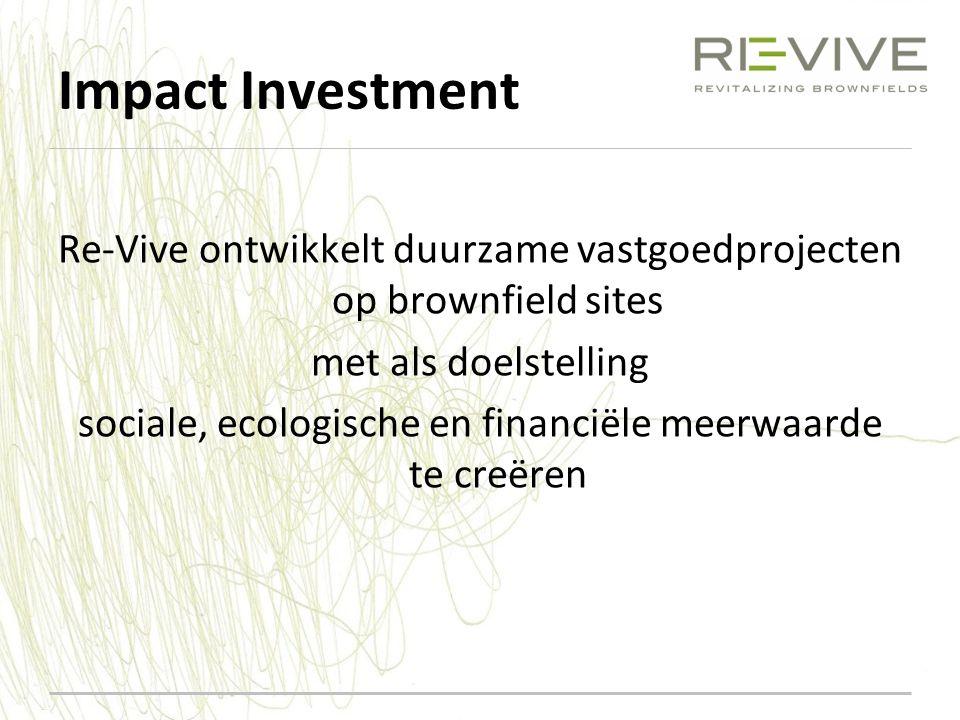 Impact Investment Re-Vive ontwikkelt duurzame vastgoedprojecten op brownfield sites met als doelstelling sociale, ecologische en financiële meerwaarde te creëren