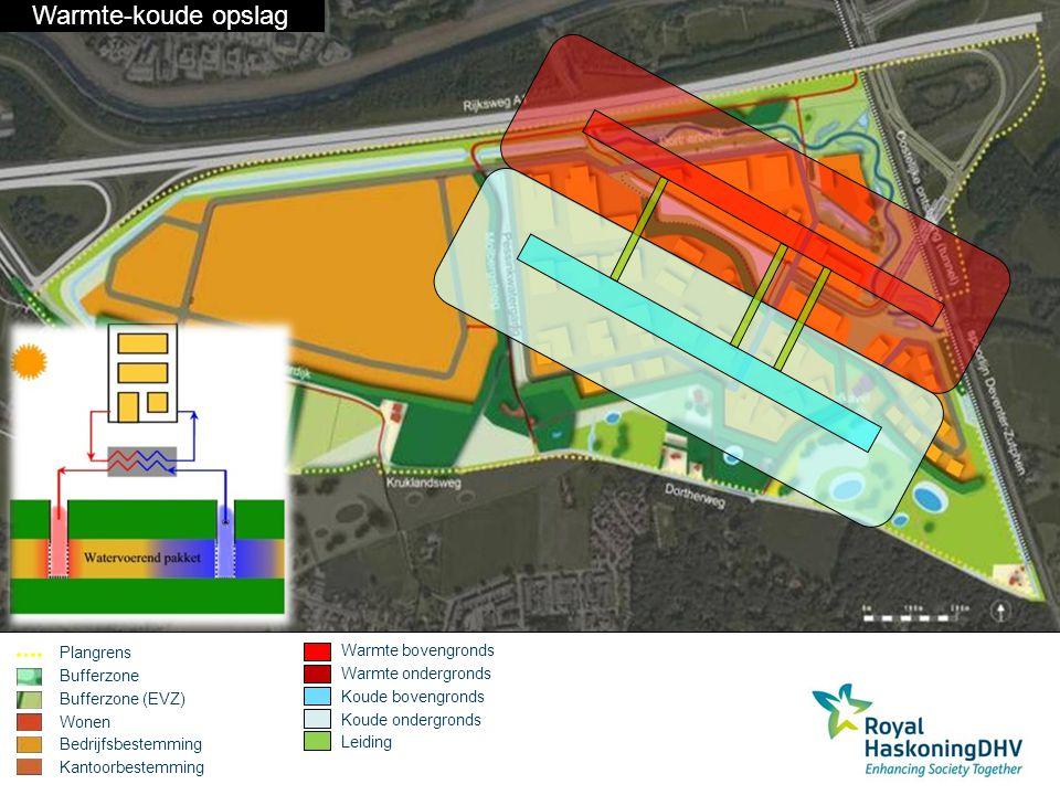 Plangrens Bufferzone Bufferzone (EVZ) Wonen Bedrijfsbestemming Kantoorbestemming Biomassa kachel Leiding Biomassa concept