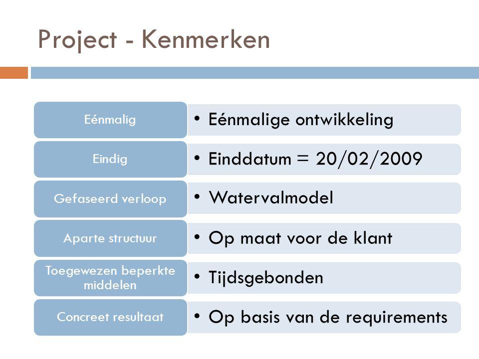 Project - Kenmerken Eénmalige ontwikkeling Eénmalig Einddatum = 20/02/2009 Eindig Watervalmodel Gefaseerd verloop Op maat voor de klant Aparte structu